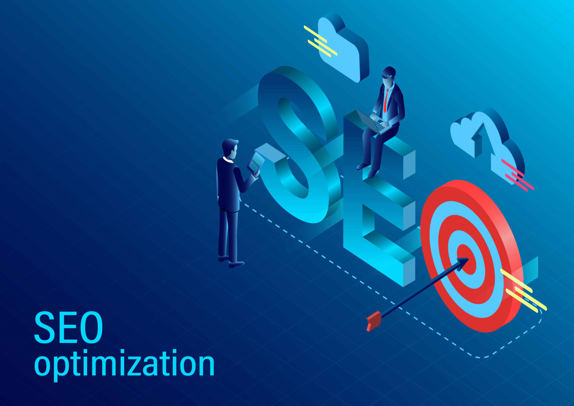 Seo Optimization concept. modern flat design isometric. new innovative ideas. vector illustration